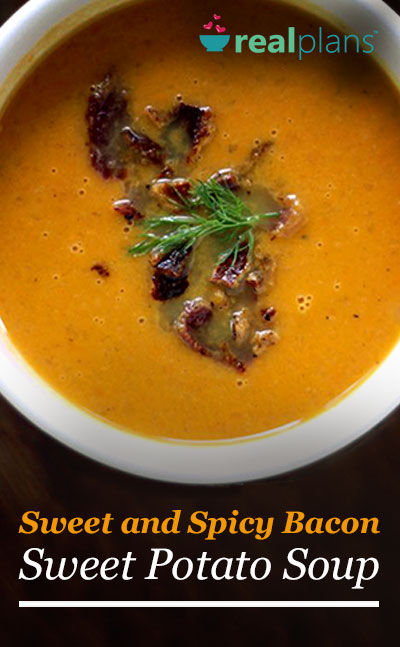 This sweet and spicy bacon sweet potato soup is a Paleo compliant ...